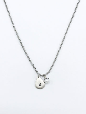Handmade Initial Necklace in Silver
