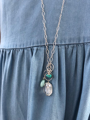 Fiji nh Necklace with Peruvian Chalcedony, Kingman Turquoise, and Smoked Quartz Pendants