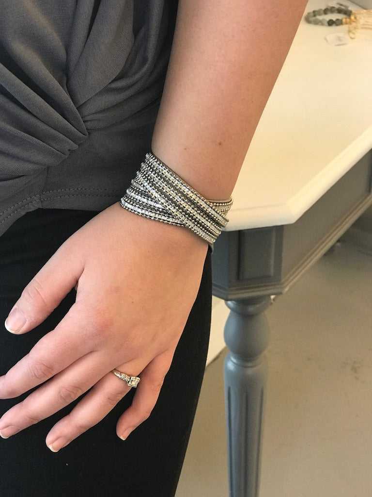 Large Grey Wrap Bracelet
