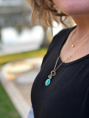 Athens NH Necklace with Turquoise and Champagne Quartz Pendants