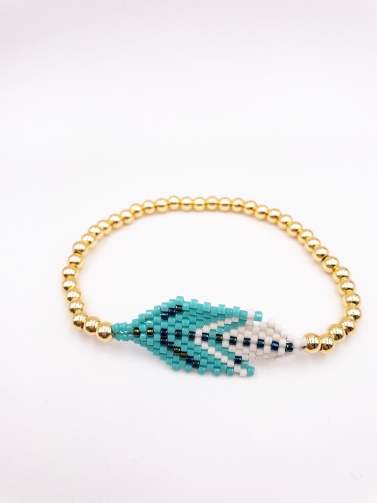 Nala Handmade Turquoise Feather Gold Bracelet