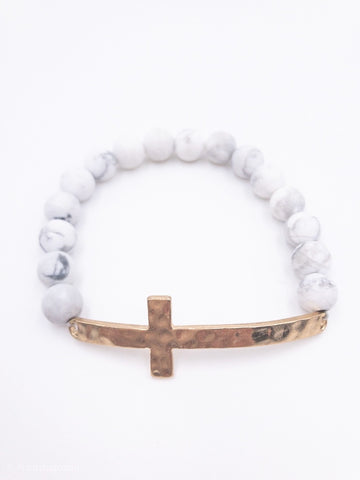 White and Gray Marble Stretch Bracelet with Gold Cross