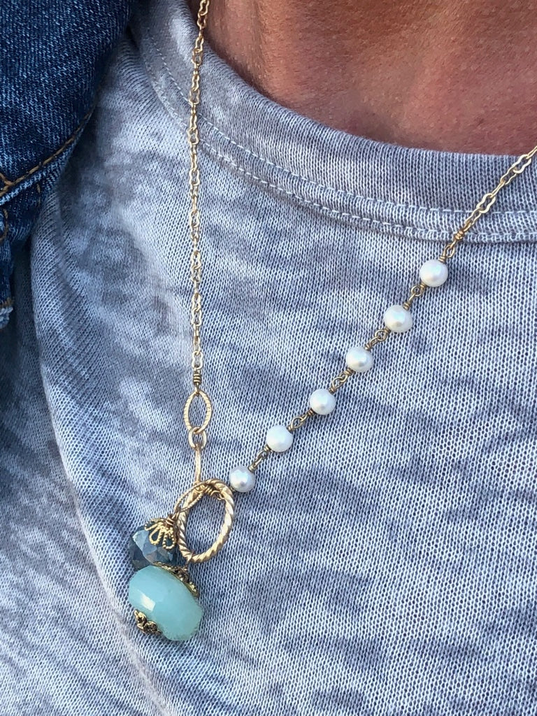 Athens NH necklace with Peruvian Chalcedony and Moss Aquamarine pendant