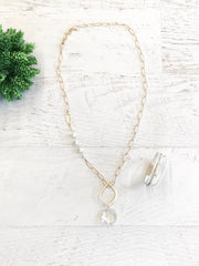 Napa NH Necklace with Fresh Water Signature Chain and Circle Crystal Pendant