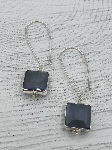 Megan Long Earrings - Grey