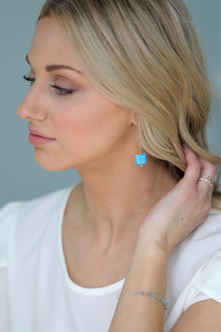 Megan Long Earrings - Tropical Teal