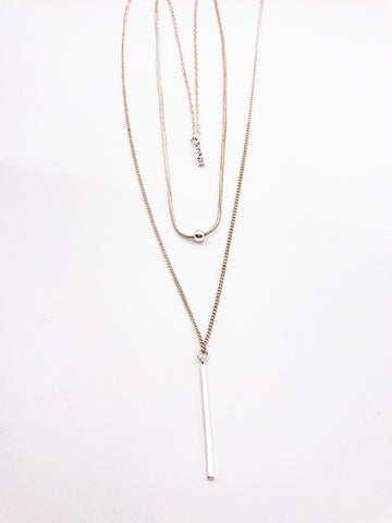 Mercedes Silver Layered Long Necklace
