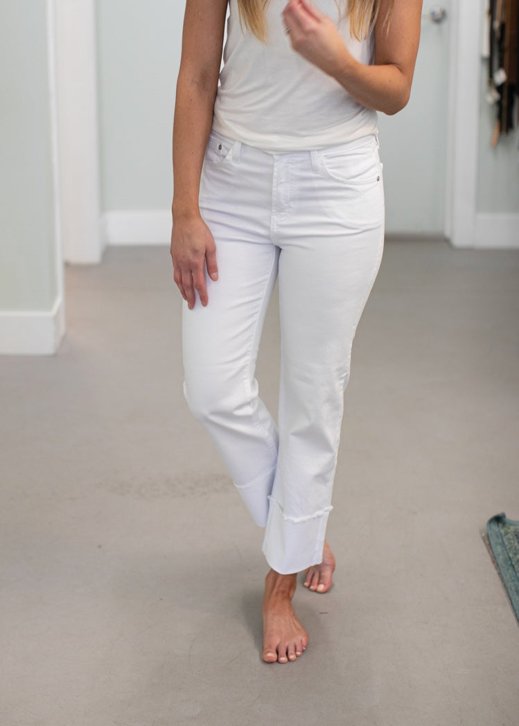 Tracy Wide Cuff White Denim Jeans