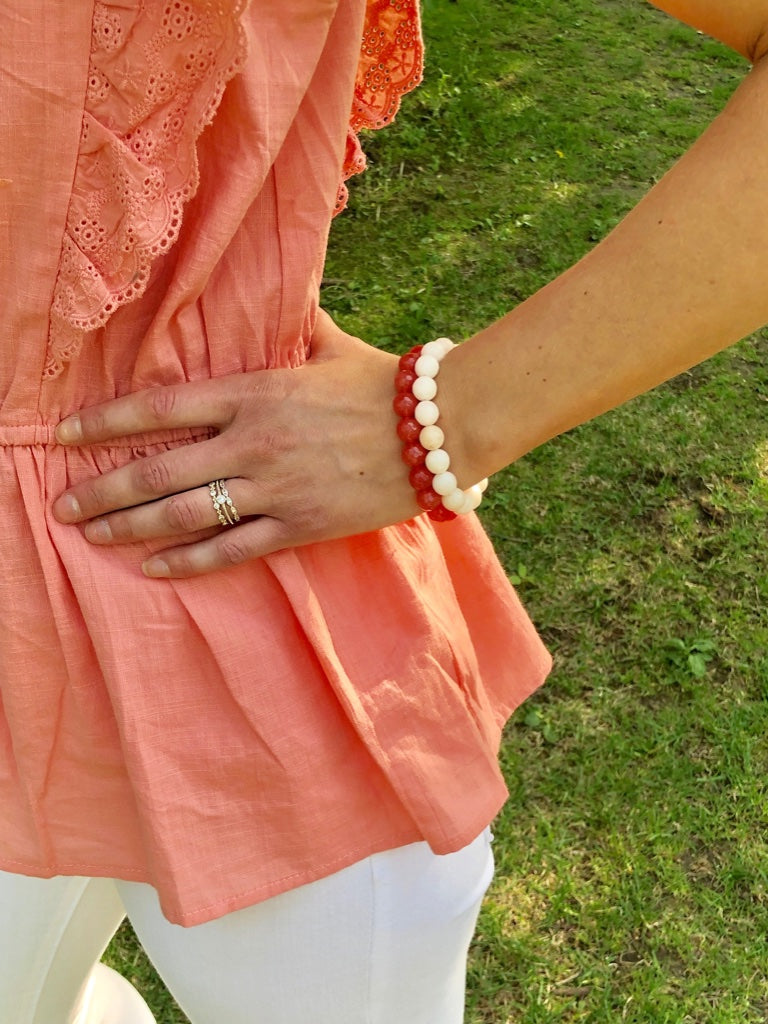 Ivory Beaded Stretch Bracelet