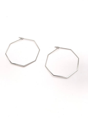 Brit Silver Octagon Hoop Earrings
