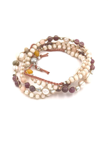 Gwen Beaded Pearl Necklace or Wrap Bracelet