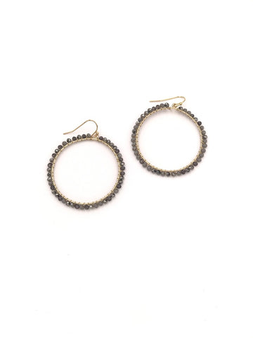 Grey Beaded Hoop Earrings