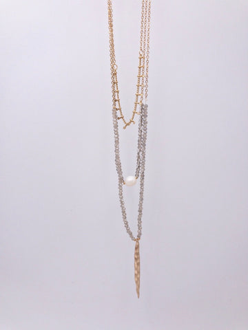 Three Layer Gold Beaded Necklace with Pearl