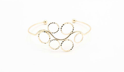 Gold Bangle Bracelet with Circle Detail