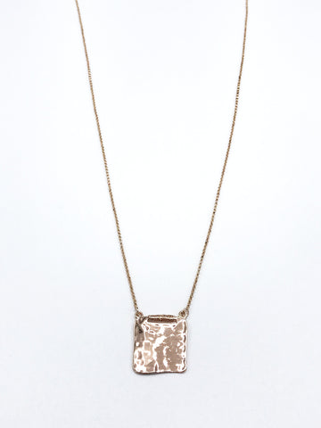 Long Necklace With Hammered Square Pendant in Rose Gold