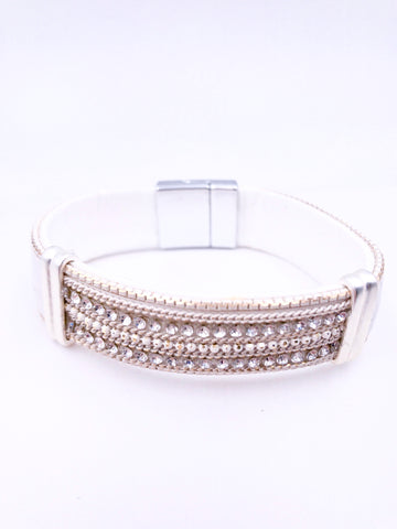 elegant white wrap bracelet with magnet clasp