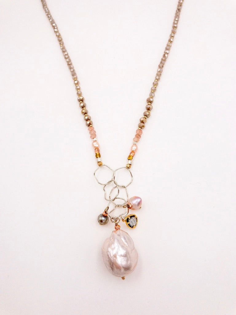 Marilyn Long Silver and Gold Beaded Necklace with Pearl