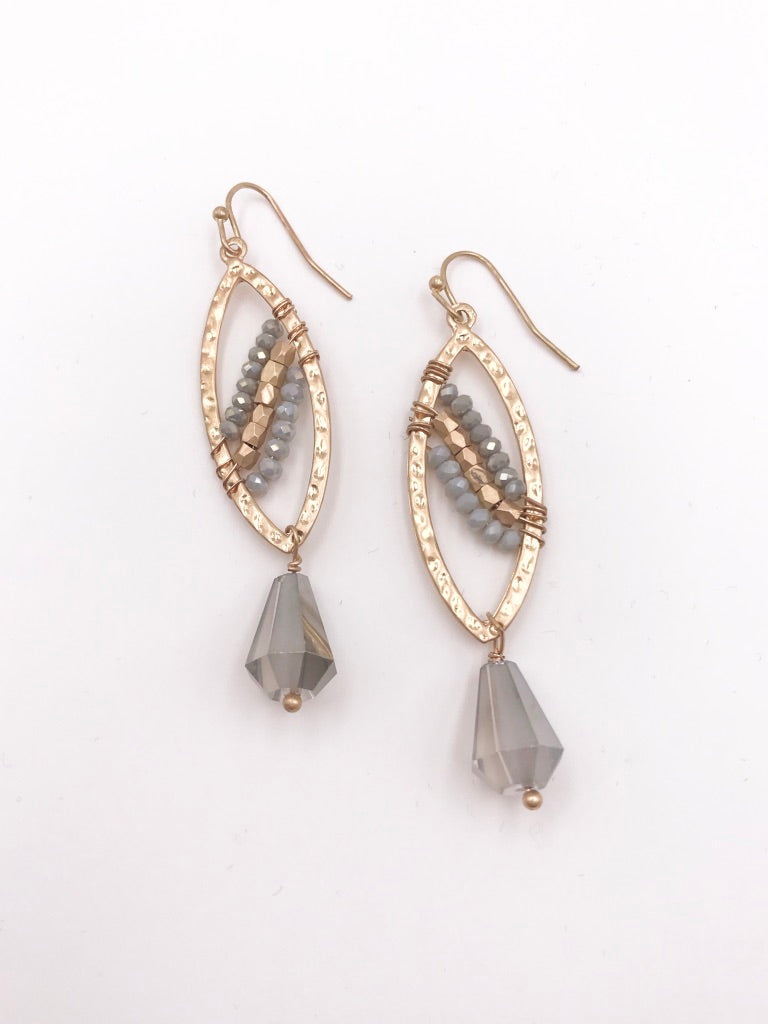 Gold and Beaded Leaf Dangle Earrings