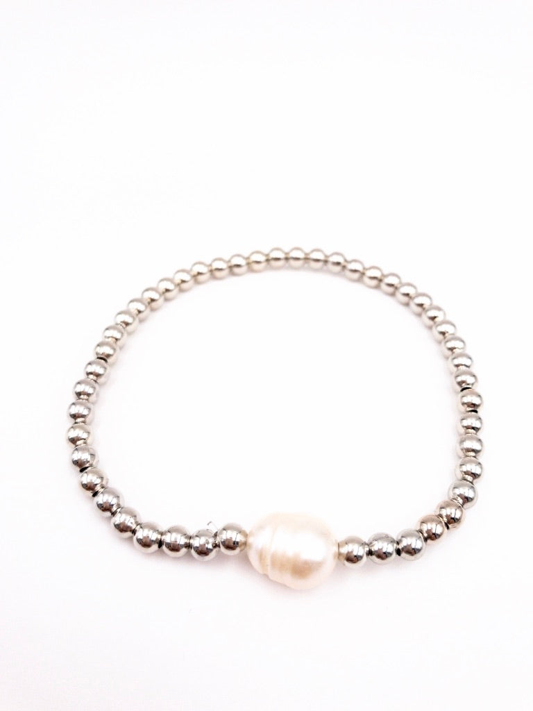 Pearl Silver Beaded Stretch Bracelet