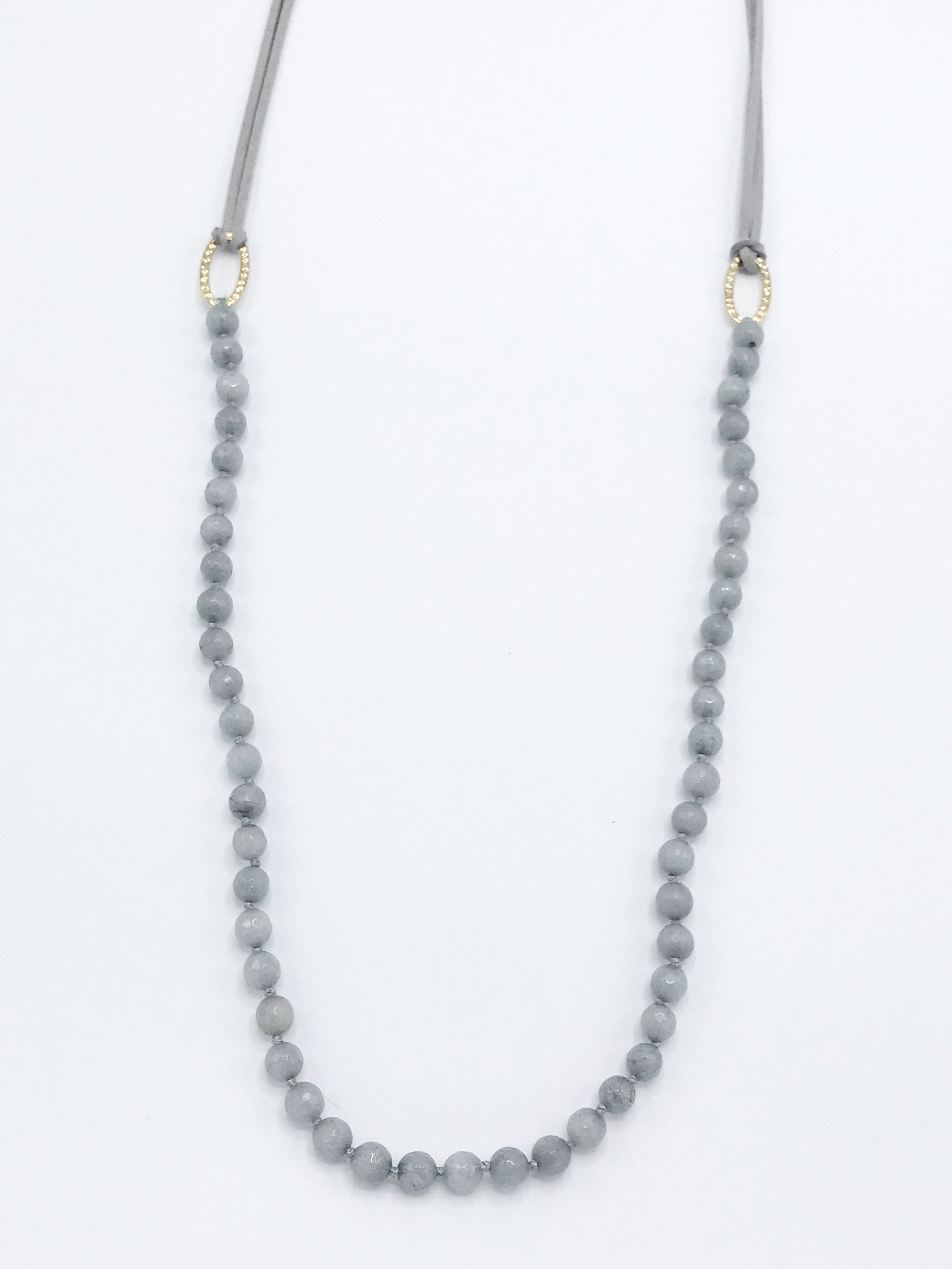 Long Gray Beaded Necklace with Gray Leather and Gold Clasp