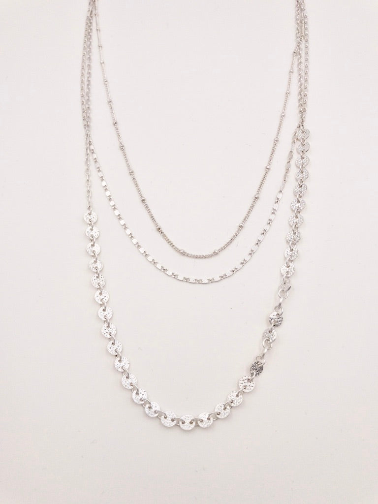 Mary Silver Layered Necklace