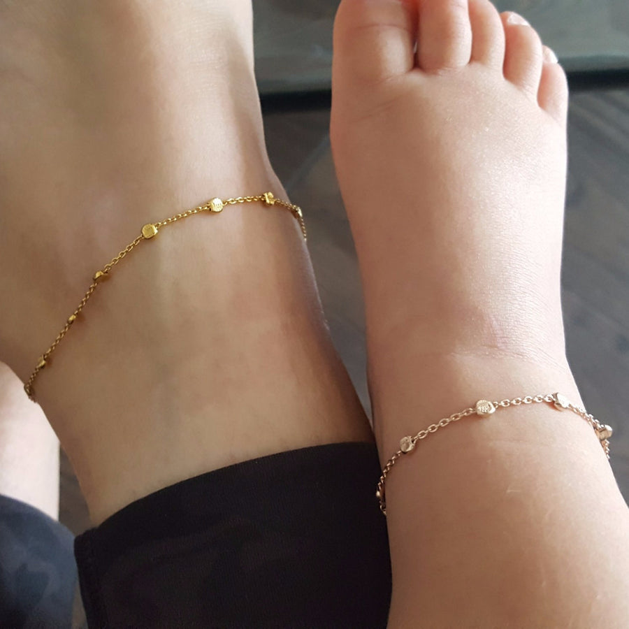 "The ""Twin Orbital"" Matching Chain Anklet Set"