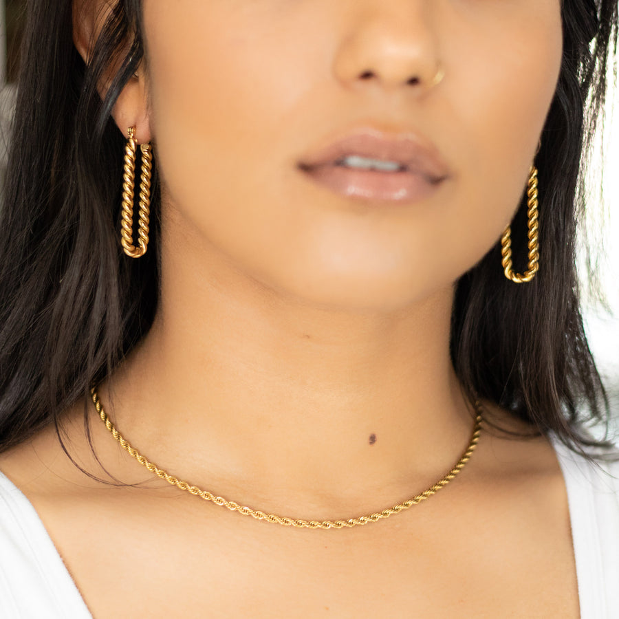 The Frenchie Rectangular Hoop Earrings