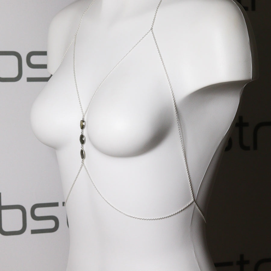 "The ""Goddess"" Rainbow Moonstone or Pearl Body Harness"