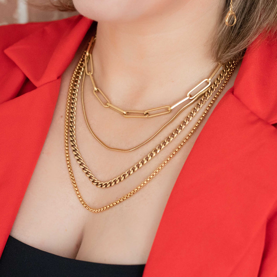 The Layered B set of 4 Gold Necklaces