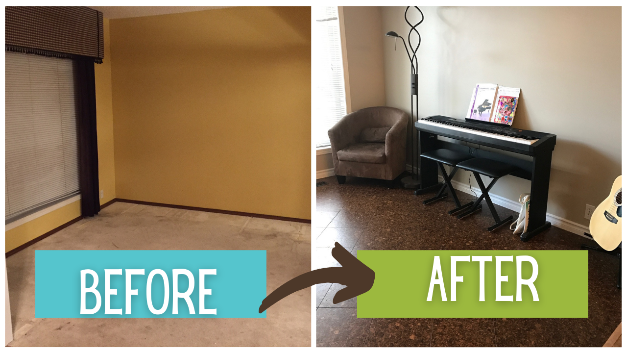 Before and after of space: from an outdated room with stained carpet to a sophisticated room with dark cork flooring.