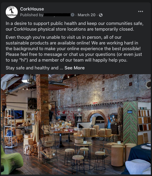 CorkHouse Facebook post announcing temporary store closures in response to COVID-19
