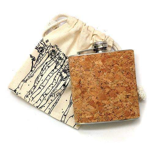 6 oz. Stainless Steel & Cork Flask w/ Fabric Bag - Naturally Anti-Microbial Hypoallergenic Sustainable Eco-Friendly Cork