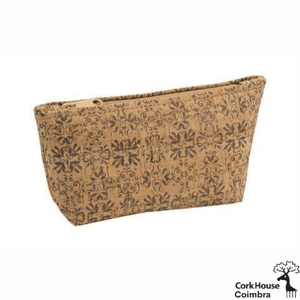 This large cork pouch has a matching tan zipper and features the Coimbra tile pattern. The pattern is a traditional look in faded ink color.