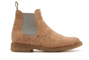 Cork Chelsea Boot - Natural with Grey - Naturally Anti-Microbial Hypoallergenic Sustainable Eco-Friendly Cork