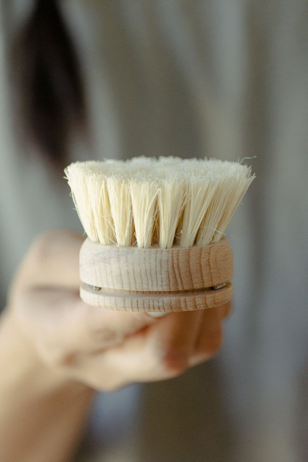 Dish Brush - White Teakwood & Agave Fiber - Naturally Anti-Microbial Hypoallergenic Sustainable Eco-Friendly Cork