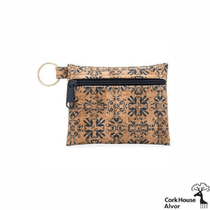 The Alvor keychain wallet features a rustic navy tile pattern on eco-friendly cork fabric with a matching navy zipper and golden keyring.