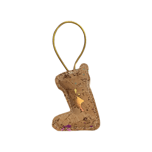 Bring color to your tree with this stocking shaped natural cork ornament. Each ornament is unique and contains a mixture of orange, pink, blue, and green accents.