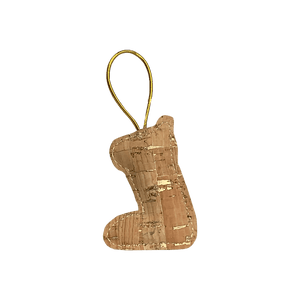 This natural cork stocking ornament is perfect for the glimmer of candlelight. The golden flecks catch the light and capture the magic of Christmas.