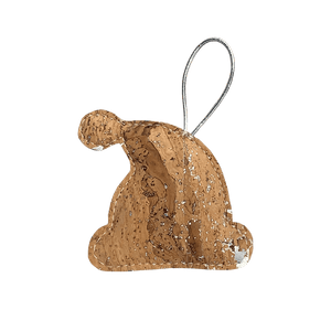 Bring the swirls and twirls of a winter wonderland to your tree with this natural cork and silver Santa's hat ornament.