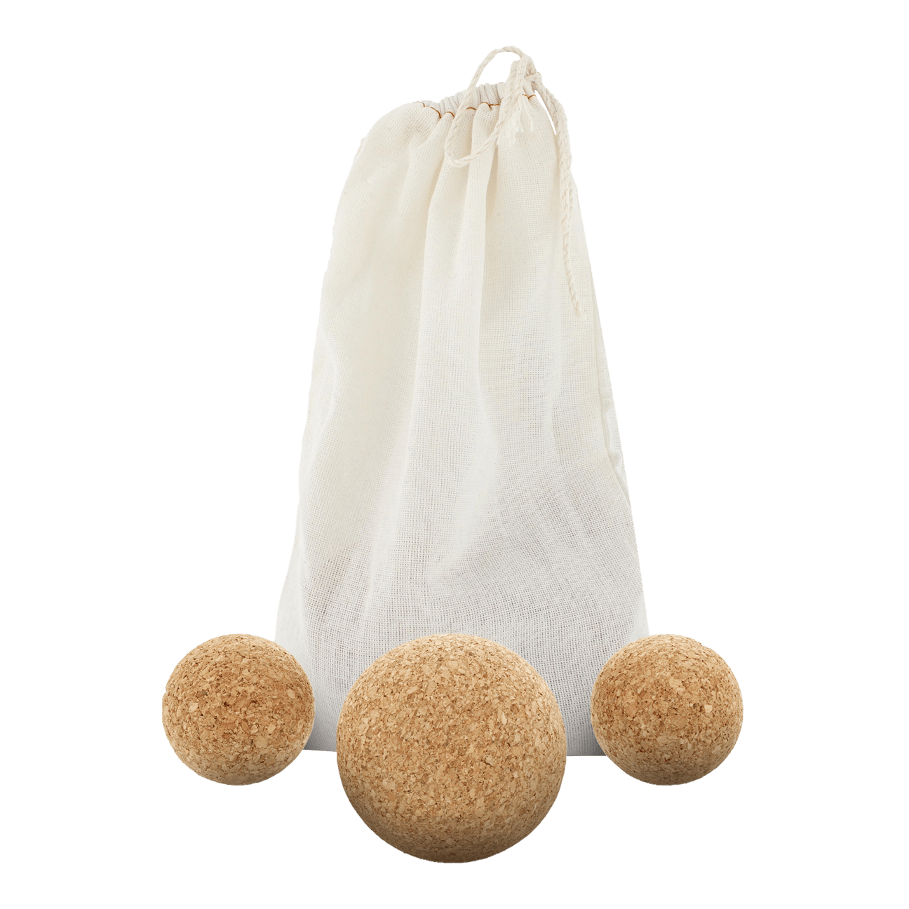 Set of 3 natural cork massage balls in a cotton carrying bag. Set contains 1 large massage ball (3-inch) and 2 small massage balls (2-inch).