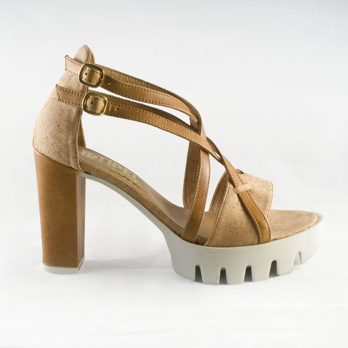Cork and Leather Heeled Sandals - Naturally Anti-Microbial Hypoallergenic Sustainable Eco-Friendly Cork