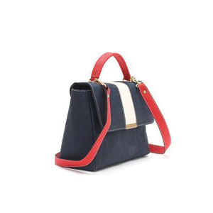 ROK Phoebe Cork Satchel/Handbag - Blue Red White - Naturally Anti-Microbial Hypoallergenic Sustainable Eco-Friendly Cork