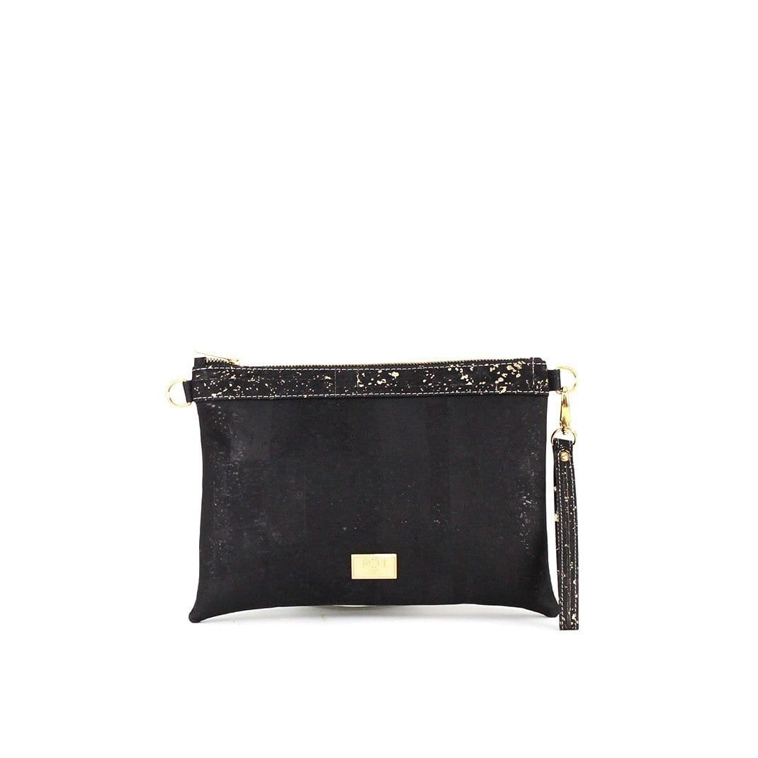 ROK Cork Medlyn Convertible Clutch - Black & Gold Speckle - Naturally Anti-Microbial Hypoallergenic Sustainable Eco-Friendly Cork