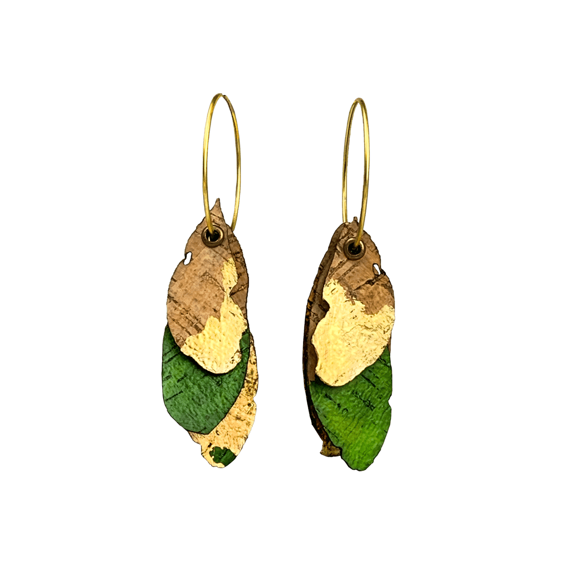 kkennedy Earrings Hoop Earrings - 3 Cork Oak Leaves