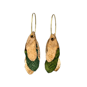 Hoop Earrings - 3 Cork Oak Leaves