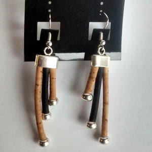 Cork Cord Earrings 3-Strand - Naturally Anti-Microbial Hypoallergenic Sustainable Eco-Friendly Cork