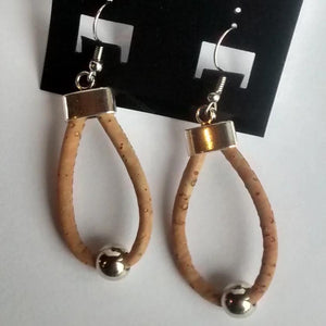 Cork Cord Earrings Loop - Naturally Anti-Microbial Hypoallergenic Sustainable Eco-Friendly Cork
