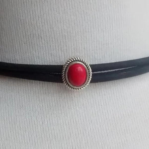 Cork Choker Black with Antique Silver and Red Stone - Naturally Anti-Microbial Hypoallergenic Sustainable Eco-Friendly Cork