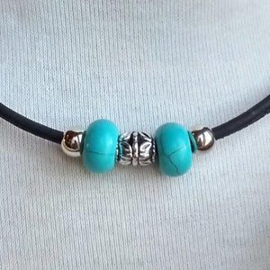 Cork Choker Black with Turquoise Beads - Naturally Anti-Microbial Hypoallergenic Sustainable Eco-Friendly Cork