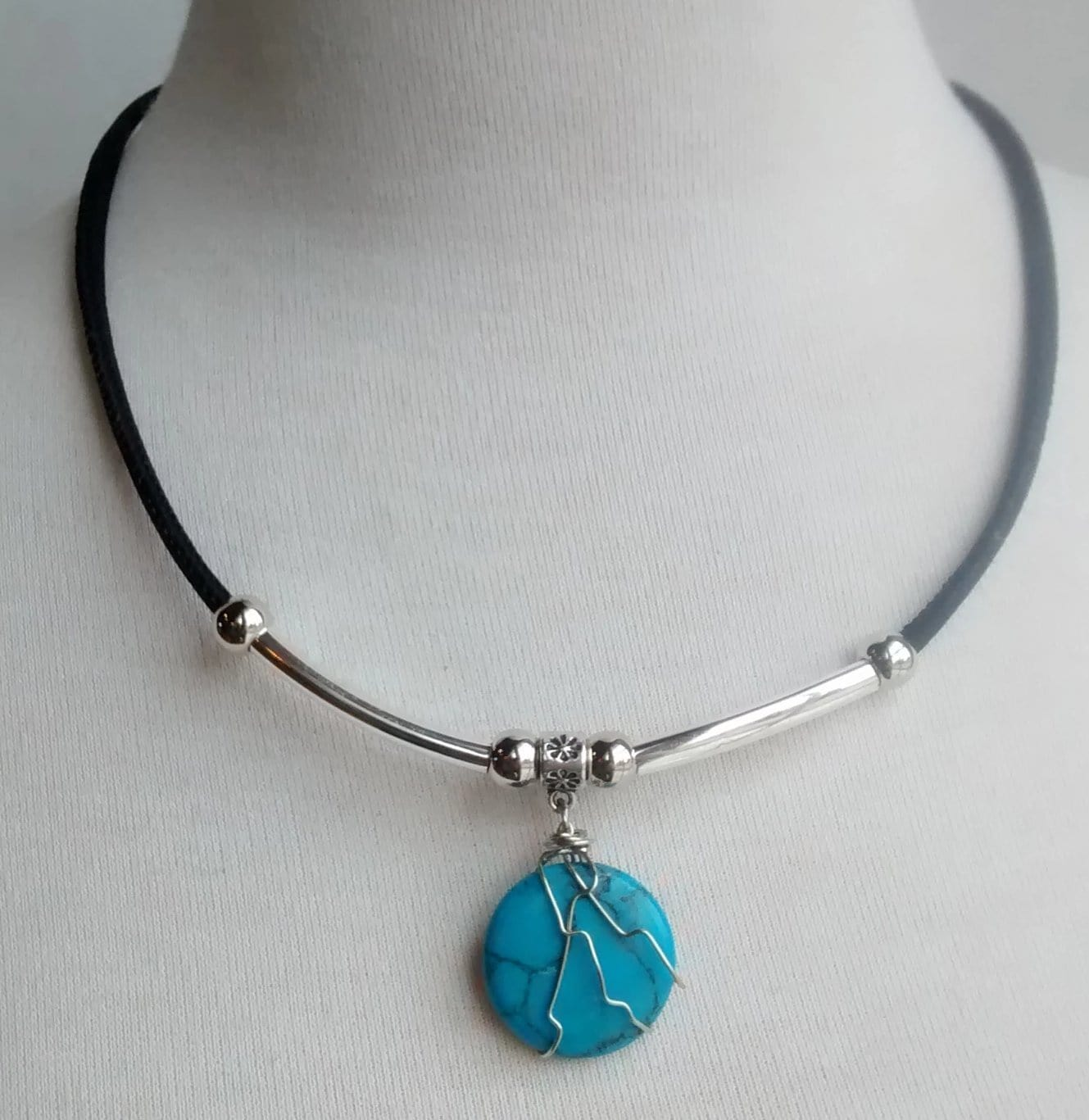 Cork Choker Black with Turquoise Stone - Naturally Anti-Microbial Hypoallergenic Sustainable Eco-Friendly Cork